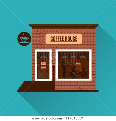 Restaurant or cafe illustration in flat style. Vector