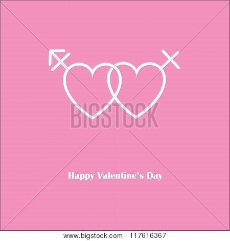 Happy Valentine's Love Transgender Pink Card .eps
