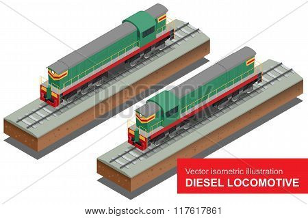 Vector isometric illustration of  Diesel Locomotivel. Train Locomotive Transportation Railway Transp
