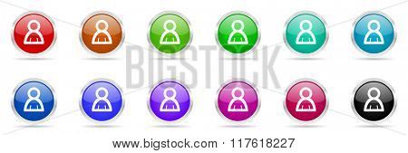 man colorful web icons set