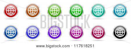 world colorful web icons set