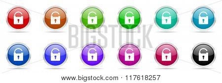 padlock colorful web icons set