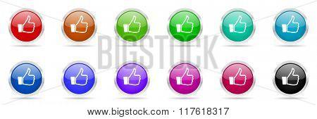 a thumb up colorful web icons set