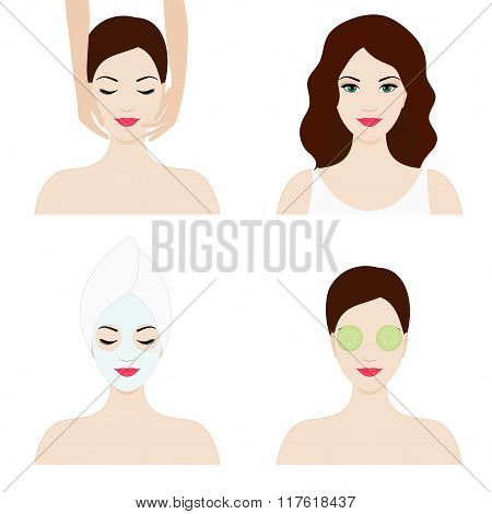 Girl faces, isolated flat design set for spa and beauty salon