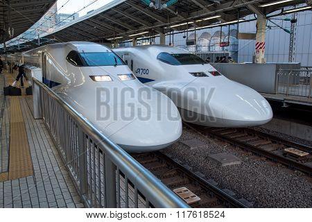 Tokyo, Japan - December 05, 2015 : View Of Shinkansen Bullet Train At Tokyo Station, Japan