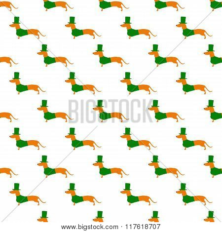 Pattern With Dachshund In St Patricks Day Suit