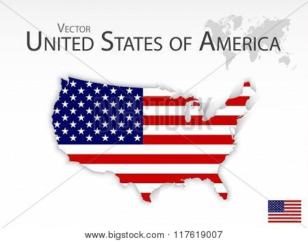 United States Of America ( Map And Flag )