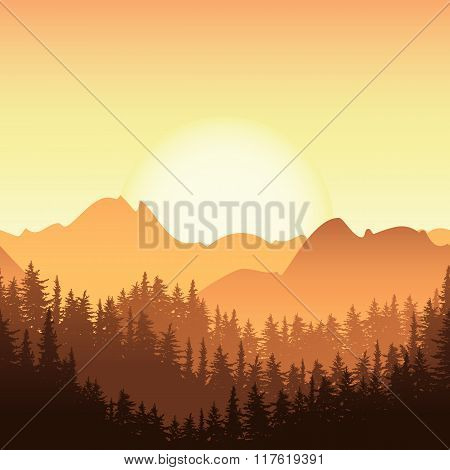 Sunrise In The Mountain. Vector Landscape Illustration.