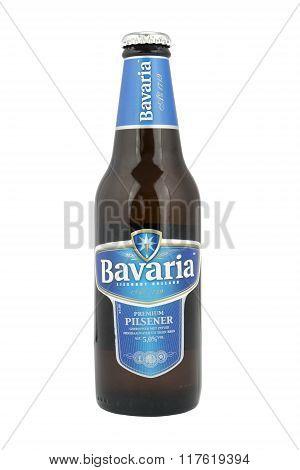 Bavaria beer bottle on a white background.