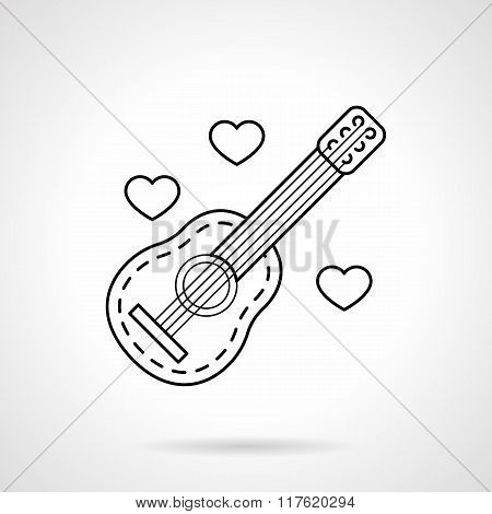 Guitar and hearts black flat line vector icon