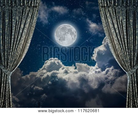 fabric curtains on a nigt sky background. Elements of this image furnished by NASA