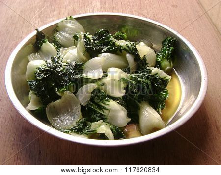 Cantonese food vegetable stir-fry pak choi
