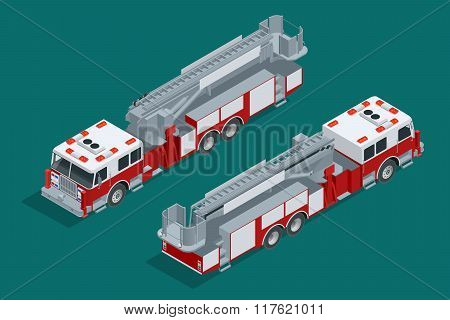 Fire truck isolated. Fire suppression and victim assistance. Flat 3d isometric high quality city tra