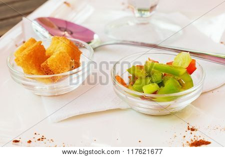 Two Glass Rosette With Croutons And Vegetables.