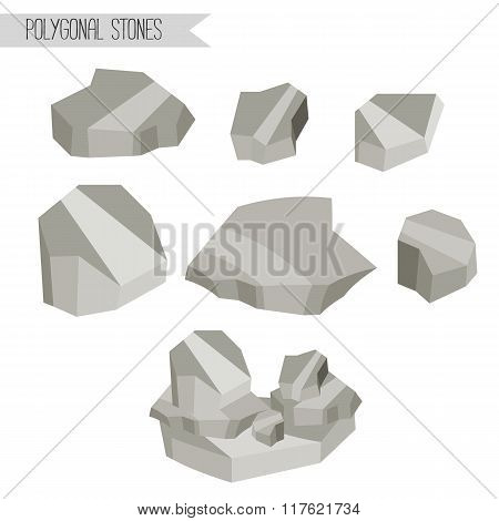 Rocks and stones. Polygonal design.