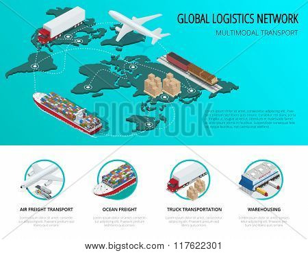 Global logistics network Flat 3d isometric vector illustration Set of air cargo trucking rail transp