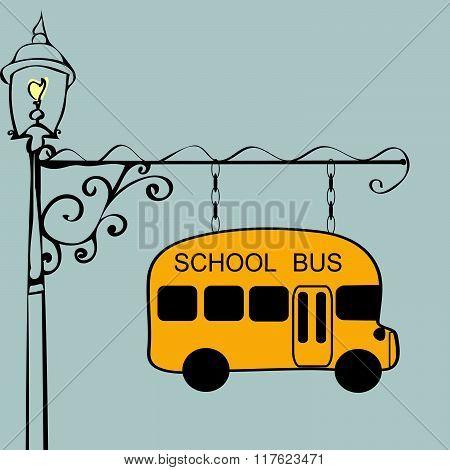 Vintage sign school bus stop