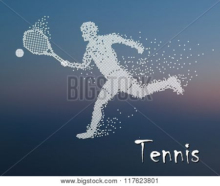Tennis player kicks the ball