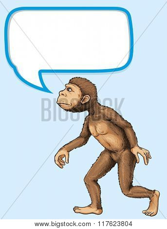 Ape standing with communication bubble illustration