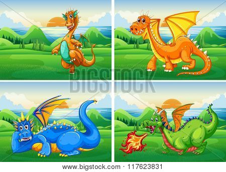 Four dragons in the field illustration