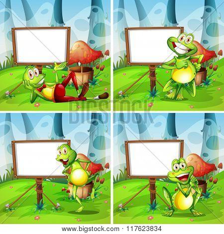 Four frames of frog in the park illustration
