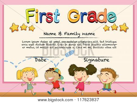 Diploma template for grade one illustration
