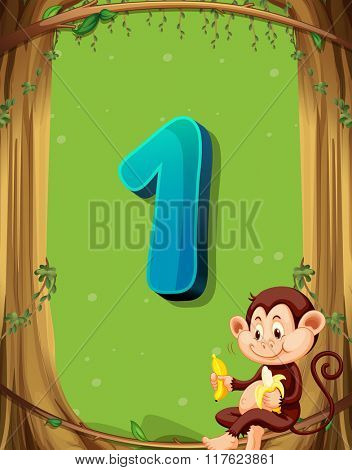 Number one with only one monkey in the tree illustration