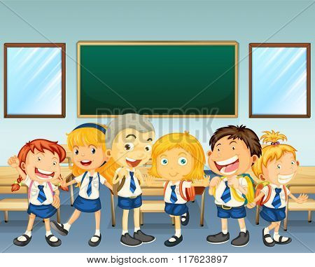 Students in uniform standing in classroom illustration