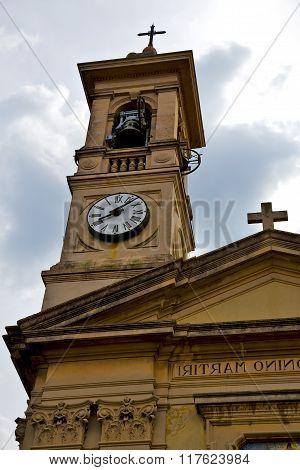Caiello Gallarate     Wall  And Church Tower Bell  Cloudy Day