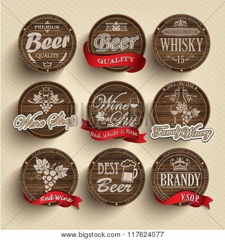 Casks with alcohol emblems