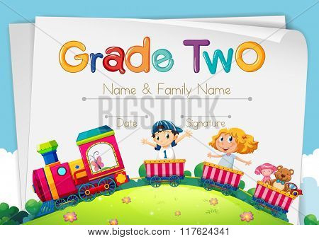 Diploma template for grade two illustration