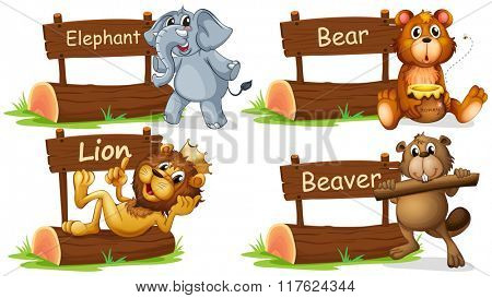 Four wild animals with wooden sign illustration