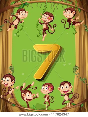 Number seven with 7 monkeys on the tree illustration