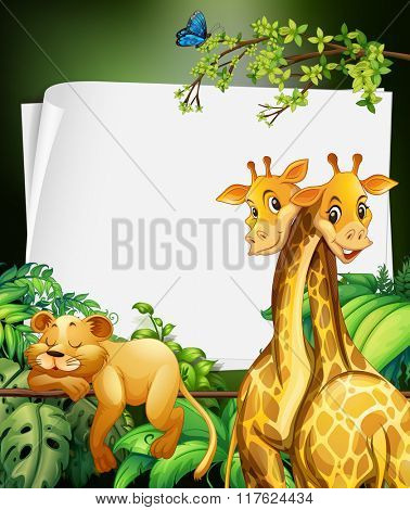 Border deisgn with giraffes and lion in the woods illustration