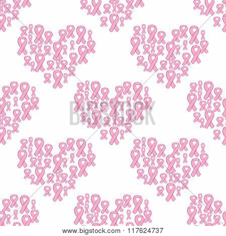 Pink ribbon and heart seamless pattern