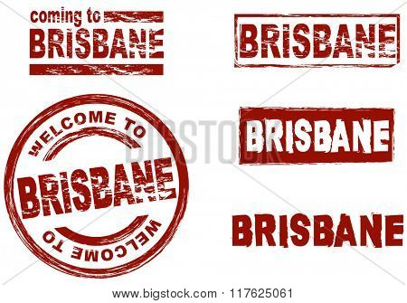 Set of stylized ink stamps showing the city of Brisbane