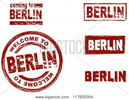 Set of stylized ink stamps showing the city of Berlin