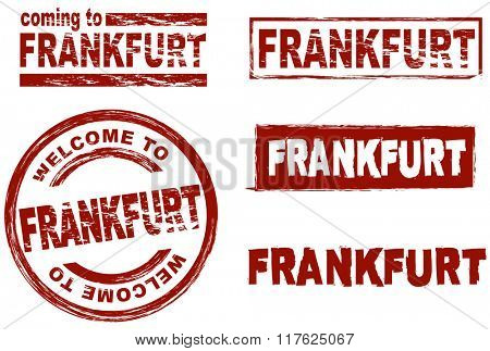 Set of stylized ink stamps showing the city of Frankfurt