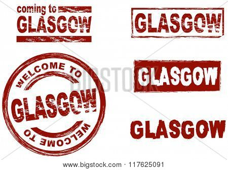 Set of stylized ink stamps showing the city of Glasgow