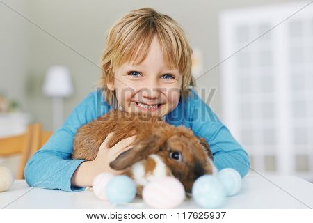 Boy with Easter rabbit