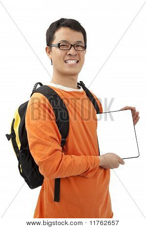 Happy young man holding a touchpad pc