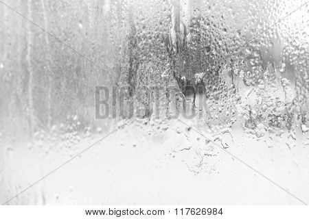 Texture Of Melting Ice On Frosted Glass