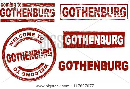 Set of stylized ink stamps showing the city of Gothenburg