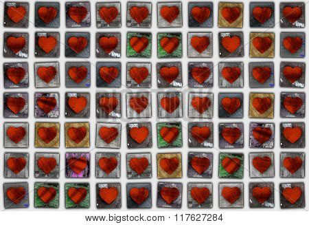 Seamless Mosaic Pattern Of Valentine Hearts Made From Grunge Textured Wood.