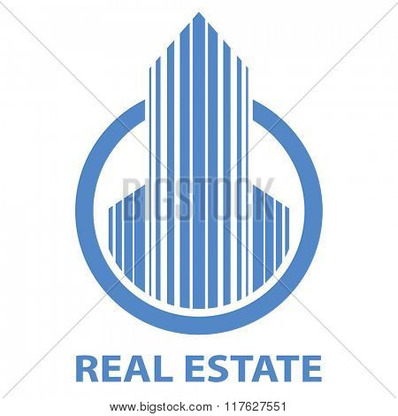 Blue real estate emblem vector template isolated on white background.
