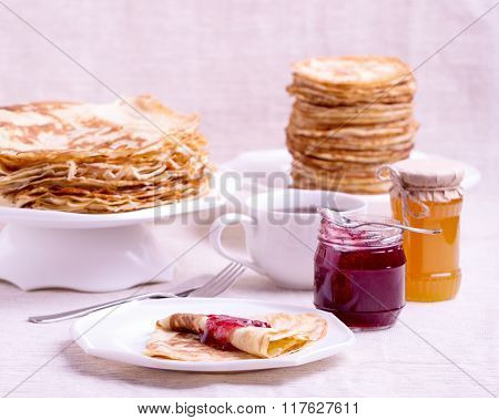 Carnival. Tea With Pancakes And Jam.