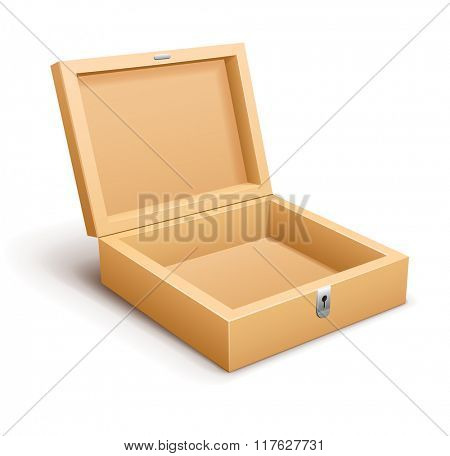Open empty wooden box. Vector illustration. Isolated on white background. Transparent objects used for lights and shadows drawing