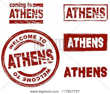 Set of stylized ink stamps showing the city of Athens
