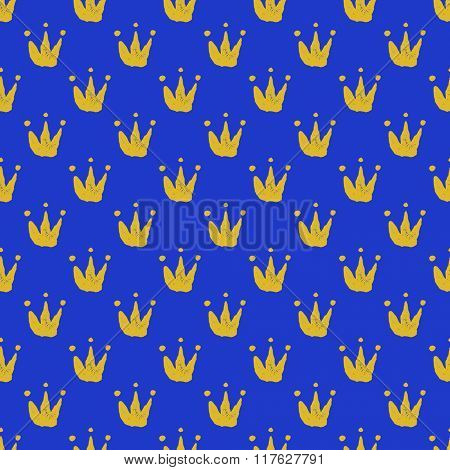 Seamless vector background with crown. Hand drawn.