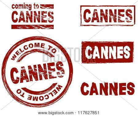 Set of stylized ink stamps showing the city of Cannes